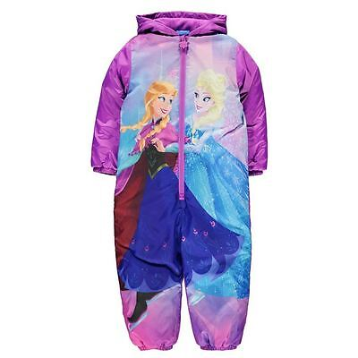Girls Disney Frozen Padded Fleece Lined Hooded Winter Suit Snow Suit Ages 2-8
