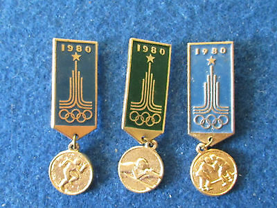 Original Russian Badges - Moscow Olympics 1980 - Lot of 3 - Medal Style
