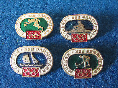 Original Russian Badges - Moscow Olympics 1980 - Events - Lot of 4