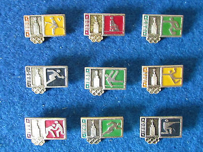 Original Russian Badges - Moscow Olympics 1980 - Events - Lot of 9