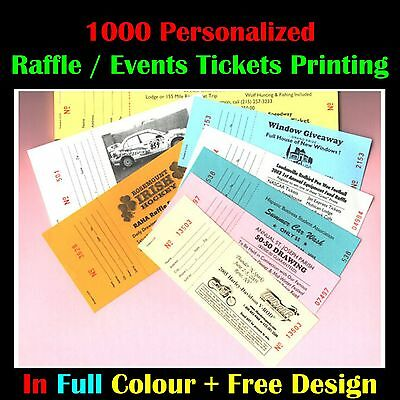 1000 Personalized Colour Raffle / Event Tickets Printing + Cheapest in Ebay