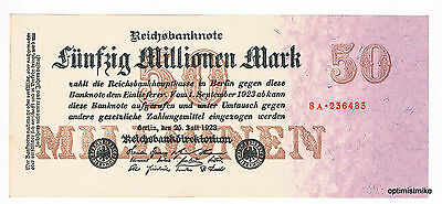 1 x 50 Millionen Mark aUNC Ros.97 b Pick 98  Germany Inflation
