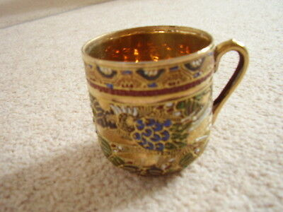 Antique Japanese porcelain Satsuma cabinet cup ,highly gilt