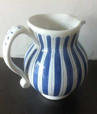 Rye Pottery Blue And White Candy Striped Jug
