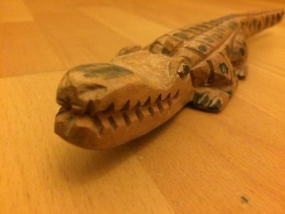 Beautiful Wooden Crocodile Hand Carved 26 Cm Approx
