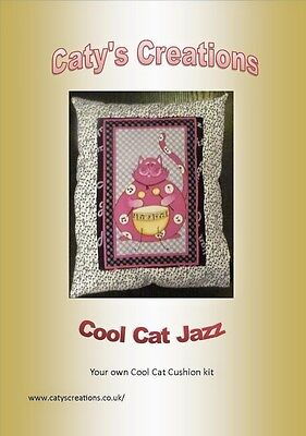 sewing kit cushion 28x38cm quilting 100% cotton material cool cat jazz drummer