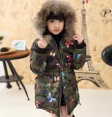 Girls Kids Butterfly Print Padded Cotton Jacket Quilted Coat Fur Hooded Parkas
