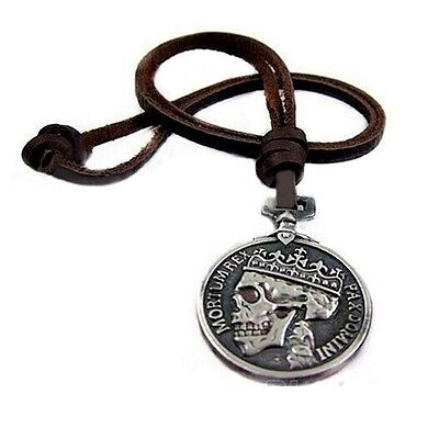 Antique Silver Skull King Leather Pull Cord Pendant Necklace