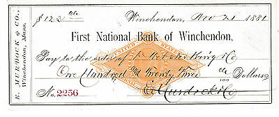1881  First National Bank Of Winchendon, Massachusetts   W/revenue Stamp