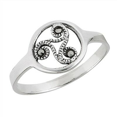 Sterling Silver Celtic Ring With Marcasite