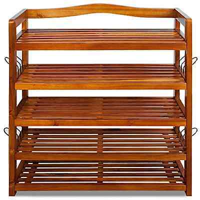 Shoe Storage Rack Wooden Tropical Acacia Cabinet Furniture Unit Shoe Organiser