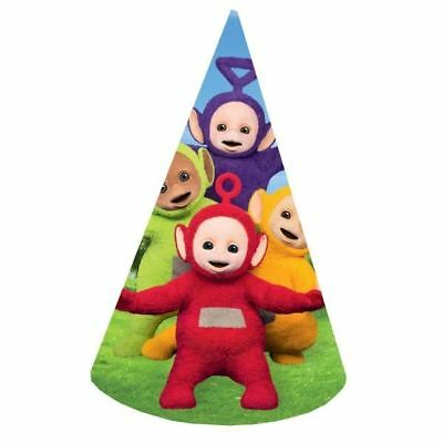 Teletubbies Card Cone Hats 8 Pack Childrens Birthday Party Celebration Favours