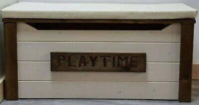 personalised wooden toy box solid pine cushion seat bench strongest on ebay