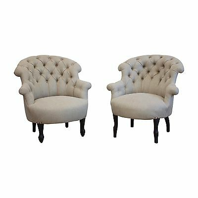 Antique Near Matching Pair of Newly Upholstered French Armchairs