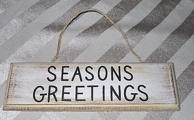Rustic Seasons Greetings Small Wooden Christmas Sign Twine Hanger 2x7""