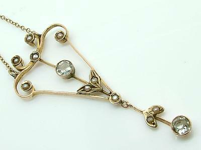 Antique Edwardian 9ct Gold Aquamarine & Seed Pearl Pendant Necklace Lavaliere