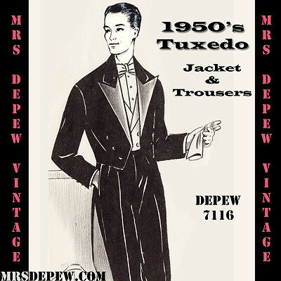 Vintage Sewing Pattern 1950's Mens' Tuxedo and Trousers in Any Size Depew #7116