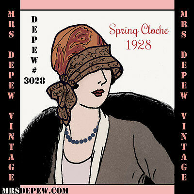 Vintage Sewing Pattern Instructions 1920's Cloche Hat Reproduction Booklet #3028
