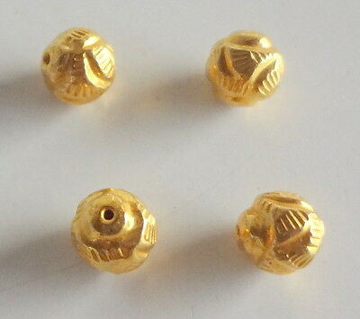 Solid 22 Carat (22K) Yellow Real Gold 5MM Antique Round 5 pieces Handmade Beads