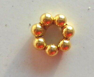Solid 22 Carat (22K) Yellow Gold 4MM 6 Pcs Indian Handmade Spacer Beads