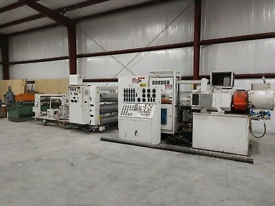 "NRM Sheet Extrusion Line 4.5"" Gloucester Extruder 54"" Roll Stack Sheet Die Shear"