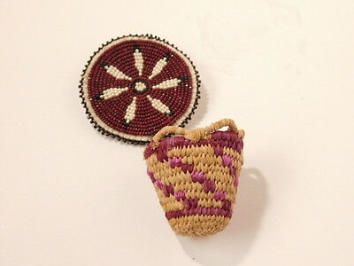 Native American Indian Seed Bead Mini Basket Weaving Brooch Jewelry Unique