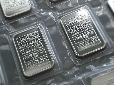 Brand New 1 oz 999 Silver Bars Silver Johnson Matthey with Serial number