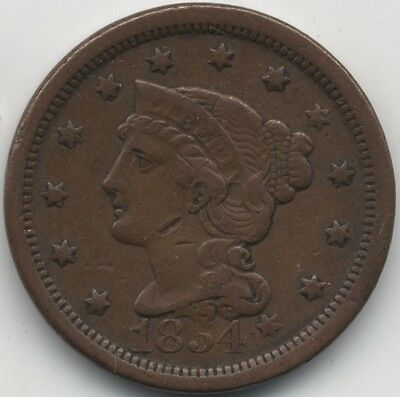 1854 U.S.A.Braided Hair One Cent***High Grade***Collectors***