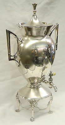 "Antique Victorian HUGE 19"" Beautiful MERIDEN Silverplate Coffee Tea Urn!"
