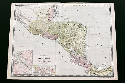 1913 Central America Map Steamship Routes Costa Rica Large Double Page ORIGINAL