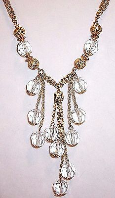 Vintage Miriam Haskell Crystal Glass Bead Tassel Double Link Chain Necklace