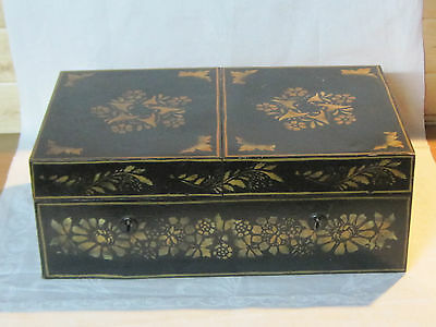 Antique double sided locking tin toleware box, tea spice caddy, cash box