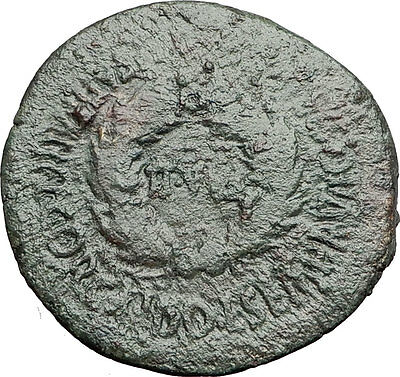 AUGUSTUS 2BC Bilbilis Spain Wreath Scarce Authentic Ancient Roman Coin i57886