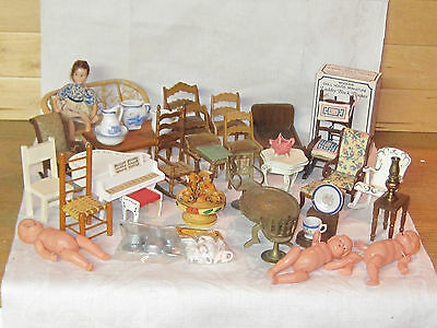 Misc lot vintage dollhouse furniture accessories including Schneegas chairs 1:12
