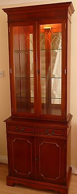 Elegant Regency Antique Repro Cherrywood effect 2 piece Display Cabinets