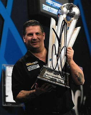 gary anderson with world championship trophy 2016 signed 12x8 photo PROOF