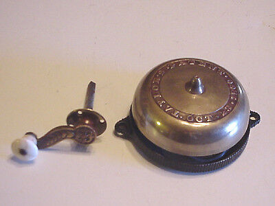 Antique Hand Crank Brass Door Bell Taylors Patent Oct 23 1860 Civil War Era