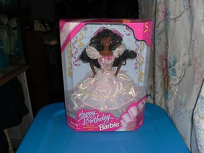 1995 NRFB African American Happy Birthday Barbie in White Dress
