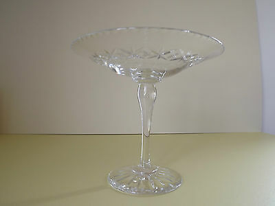 Vintage Lead Crystal Glass Tazza / Cake Stand (L64,92)