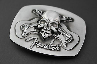 Fender Crossed Guitars Skull Belt Buckle Metal Music Rock Pick