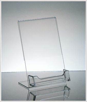 """100 Acrylic 4"""" x 6"""" Slanted Sign Holders with Attached Business Card Holder"""