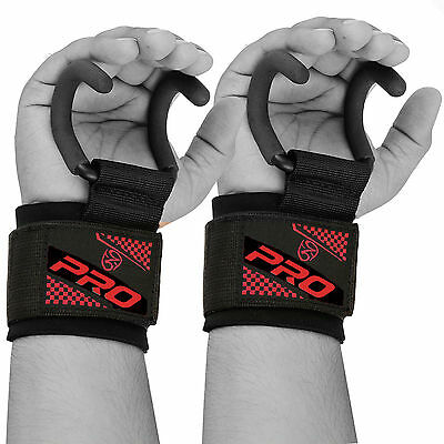 Pro Weight Lifting Training Gym Hook Grips Straps Gloves Wrist Support Lift