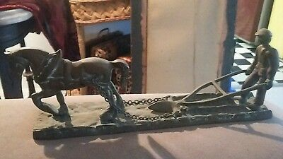 Antique Vintage Brass Horse Plow And Man