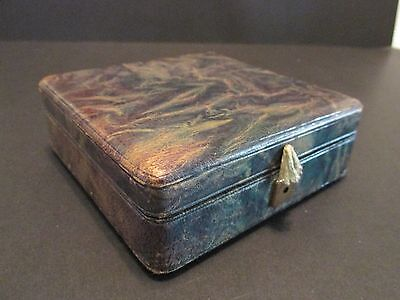 Parfums YBRY Paris Green Marbled LEATHER BOX Velvet/Satin Lined Made in France