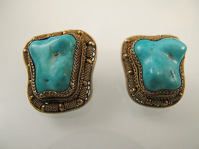 Vintage chinese export sterling silver and turquoise earring/ Boucle d'oreille