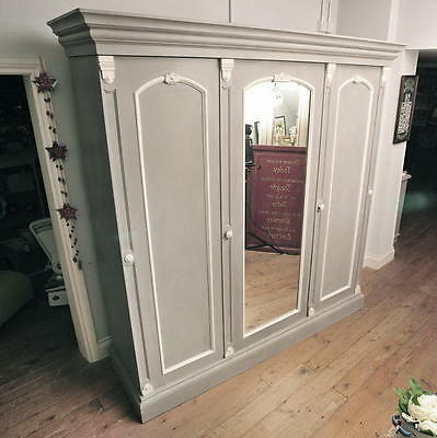 Beautiful Vintage Victorian Triple Wardrobe Painted in Annie Sloan 'French Linen