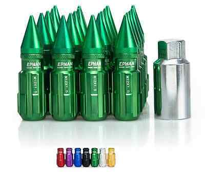 GREEN Tuner Extended Anti-Theft Wheel Security Locking Lug Nuts M12x1.25 20pcs
