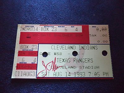 Jim Thome Signed Autographed Cleveland Vintage Indians Rangers ticket - 1993