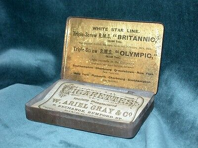 White Star Line Replacement Paper Cigarette Tin Titanic Olympic