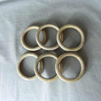 6 Antique French Massive Bronze Curtain Hanging Rings Finely Detailed Ø 6 cm
